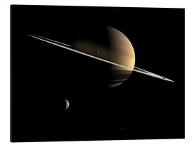 Aluminium print  Saturn and its moons Dione and Tethys - Walter Myers