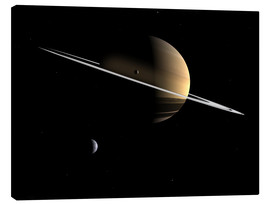 Canvas print  Saturn and its moons Dione and Tethys - Walter Myers