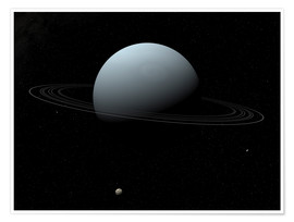 Premium poster Uranus and its tiny moon Puck