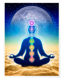 Poster  In Meditation With Chakras - Blue Moon Edition - Dirk Czarnota