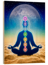 Wood print  In Meditation With Chakras - Blue Moon Edition - Dirk Czarnota