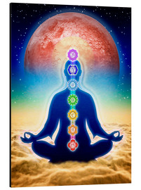 Aluminium print  In meditation with chakras - red moon edition - Dirk Czarnota
