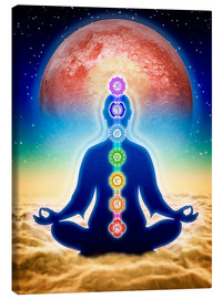 Canvas  In Meditation With Chakras - Red Moon Edition - Dirk Czarnota