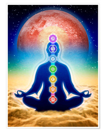 Poster  In Meditation With Chakras - Red Moon Edition - Dirk Czarnota