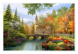 Premium poster The secluded church in autumn