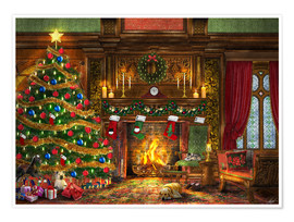 Premium poster Festive Fireplace