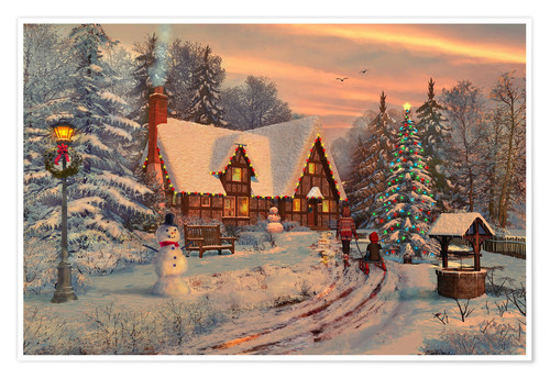 Premium poster Old Christmas Cottage