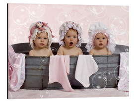 Aluminium print  Toddlers in flowery bonnets - Eva Freyss