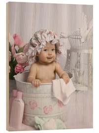 Wood print  Baby in flowery bucket - Eva Freyss