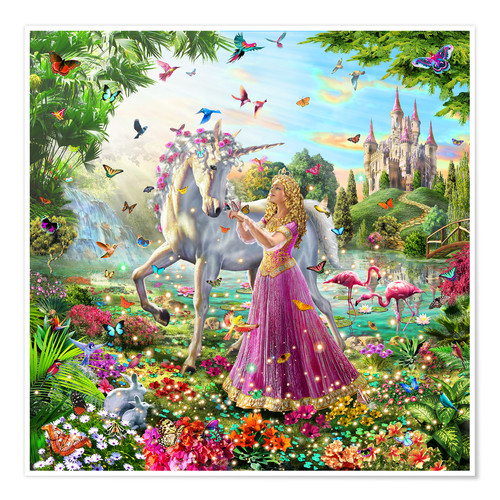 Premium poster Princess and the unicorn