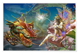 Premium poster  The dragon and the fairy - Adrian Chesterman