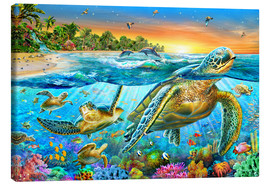 Canvas print  Underwater turtles - Adrian Chesterman