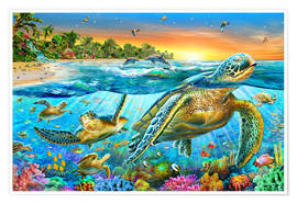 Poster  Underwater turtles - Adrian Chesterman