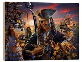Wood print  The pirate - Adrian Chesterman