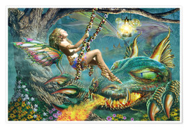 Premium poster  Dragon and fairy swing - Adrian Chesterman