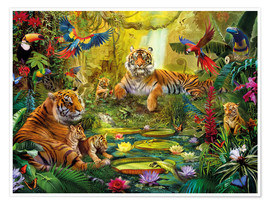 Premium poster Tiger Family in the Jungle