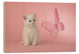 Wood  Kitten with Pink Butterfly - Greg Cuddiford