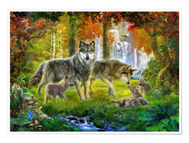 Poster  Summer Wolf Family - Jan Patrik Krasny