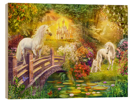 Wood print  Enchanted garden unicorns - Jan Patrik Krasny