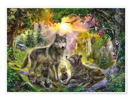 Poster Autumn Wolf Family