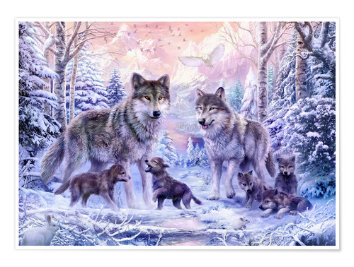 Premium poster Winter wolf family