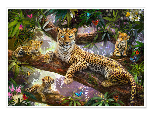 Poster Tree Top Leopard Family