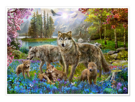 Premium poster Spring Wolf Family