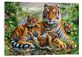 Acrylic glass  Tiger and Cubs - Adrian Chesterman