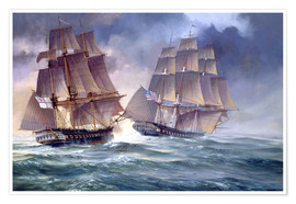 Poster  HMS Endymion and USS President - Rob Johnson