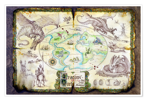 Premium poster Dragons of the world