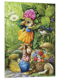 Foam board print  Rabbits picking flowers - Petar Meseldzija
