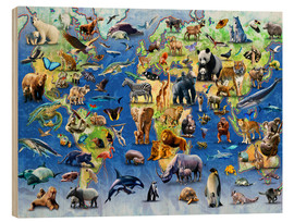 Wood print  One Hundred Endangered Species - Adrian Chesterman