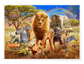 Premium poster  African Stampede - Adrian Chesterman
