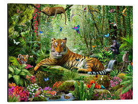 Aluminium print  Tiger in the jungle - Adrian Chesterman