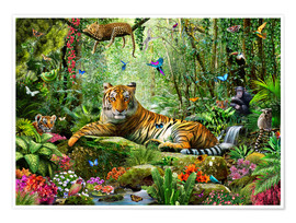 Poster  Tiger in the jungle - Adrian Chesterman