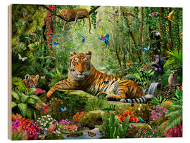 Wood print  Tiger in the jungle - Adrian Chesterman