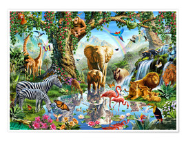Premium poster  The paradise of animals - Adrian Chesterman