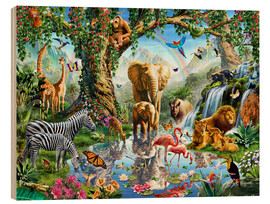 Wood print  The paradise of animals - Adrian Chesterman