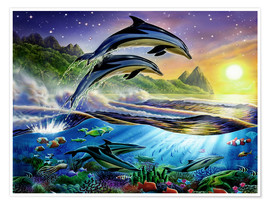 Poster  Atlantic dolphins - Adrian Chesterman