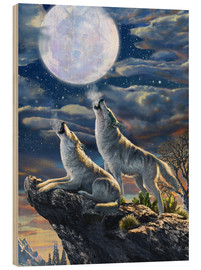 Wood print  Midnight Wolves - Adrian Chesterman