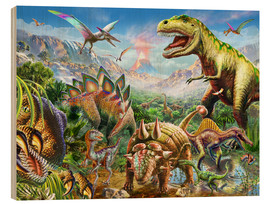Wood print  Group of Dinosaurs - Adrian Chesterman