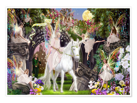 Premium poster  Fairy Queen with unicorn - Garry Walton