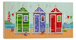 Wood print  Colorful beach huts - Peter Adderley