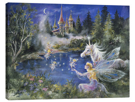 Canvas print  Fairies visit the Unicorn - Mimi Jobe
