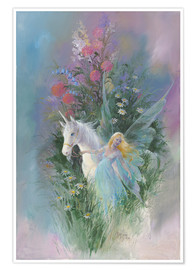 Premium poster  Meadow Fairy & Unicorn - Mimi Jobe