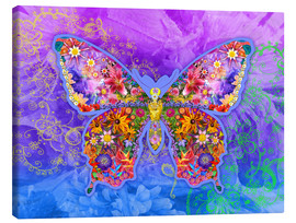 Canvas  Blue Butterfly Floral - Alixandra Mullins