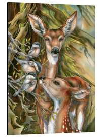 Alu-Dibond  Deers and birds - Jody Bergsma