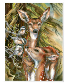 Poster  Deers and birds - Jody Bergsma