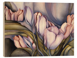 Wood print  River of tulips - Jody Bergsma