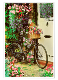 Premium poster Bicycle & Flowers
